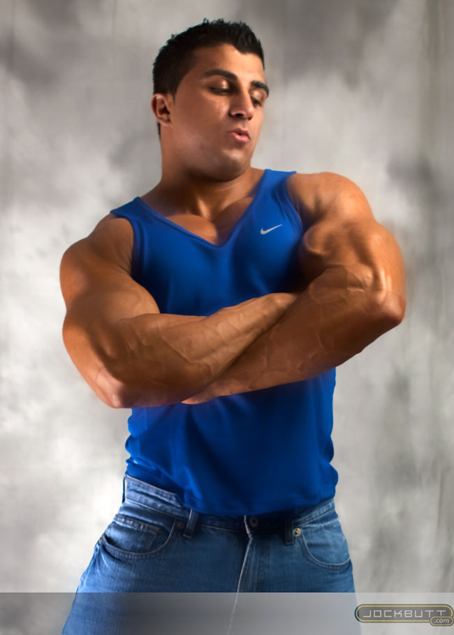 Bodybuilder Karl Kasper striking a muscle pose