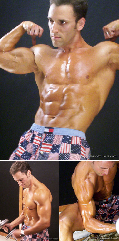 Amateur bodybuilder posing
