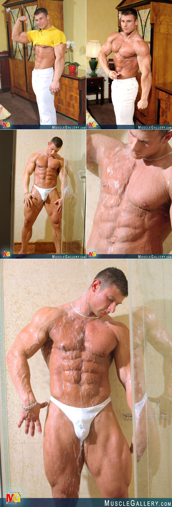 Male bodybuilder Jiri Borkovec in the shower