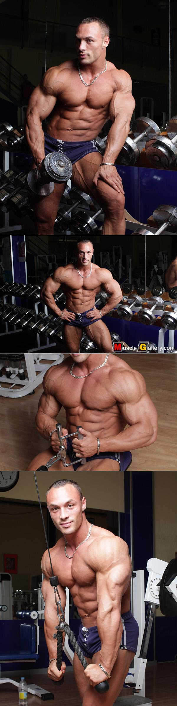 Bodybuilder Ludovic Bogaert working out